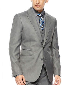 Jf J.Ferrar JF 2-Button Gray Sharkskin Suit Jacket - Classic Fit