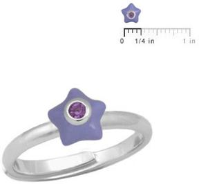 Ice Silver June Birthstone Star Adjustable Ring for Girls (Size 3 to 7)