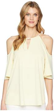 Ellen Tracy Cold Shoulder Top Women's Clothing