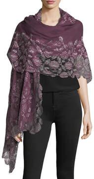 Bindya Lace-Trim Evening Stole/Wrap, Plum