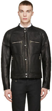 Balmain Black Leather Biker Jacket