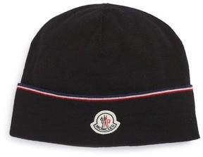 Moncler Logo Patch Wool Beanie - Black