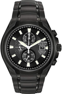 Citizen Eco-Drive Mens Black Titanium Chronograph Watch CA0265-59E