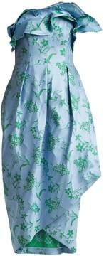 Carolina Herrera Ruffle-trimmed floral-jacquard dress