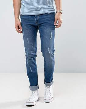 Loyalty And Faith Slim Fit Jeans with Abbriasions in Mid Wash