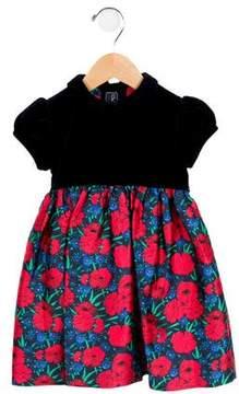 Oscar de la Renta Girls' Velvet and Floral Dress