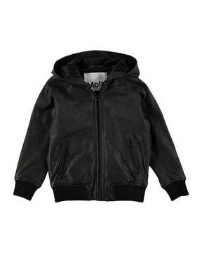 Molo Hector Hooded Leather Jacket, Size 4-12