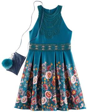 Knitworks Girls 7-16 Floral Border Highneck Skater Dress with Cell Phone Purse & Pom Keychain