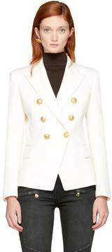 Balmain White Wool Six-Button Blazer