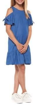 Dex Girl's Denim Tie-Sleeve Flounce Dress