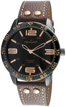 Peugeot Men's Silver Tone And Brown Leather Strap Watch 2049BBR