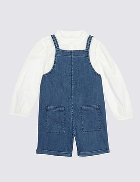 Marks and Spencer 2 Piece Shirt & Dungarees Outfit (3 Months - 5 Years)