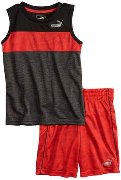 Puma Boys 4-7 Logo Colorblock Muscle Tee & Shorts Set