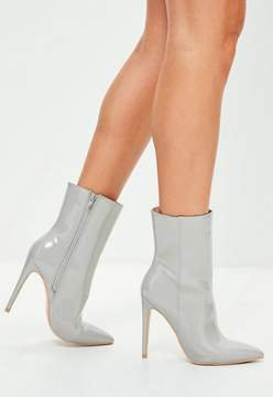 Missguided Gray Stiletto Heel Pointed Ankle Boots