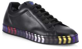 Fendi Faces Wave Leather Low-Top Sneakers