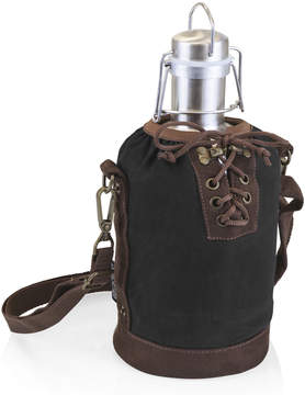 Picnic Time Black & Brown Insulated Growler Tote & Steel Growler