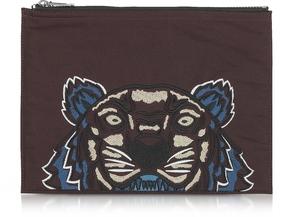 Kenzo Burgundy Canvas Tiger Clutch