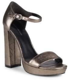 Pour La Victoire Yvette Leather Block-Heel Sandals
