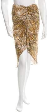 Celine Silk High-Low Printed Skirt
