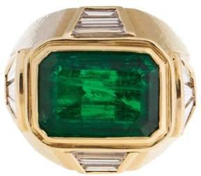 David Webb 18k Yellow Gold Zimbabwe Emerald Diamond Ring