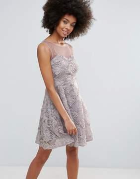 Club L 3D Flower Mesh Detail Sweetheart Skater Dress