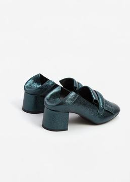 Mango Outlet Metallic heel loafer