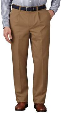 Charles Tyrwhitt Camel Classic Fit Single Pleat Non-Iron Cotton Chino Pants Size W32 L34