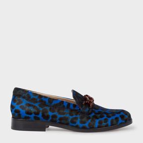 Paul Smith Women's Blue Leopard Print Calf Hair 'Cora' Loafers
