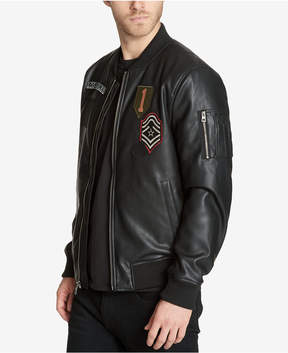 GUESS Men's Faux-Leather Varsity-Style Jacket