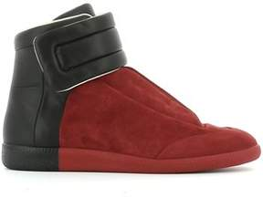 Maison Margiela Men's Black/red Suede Hi Top Sneakers.
