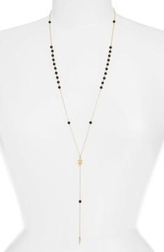 Ettika Women's 'Waiting In Line' Beaded Onyx Y-Chain Necklace