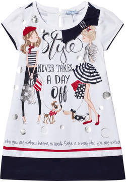 Mayoral Navy Fashion Girls Diamante Jersey Dress