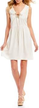 Celebrity Pink Sleeveless Lace Up Dress