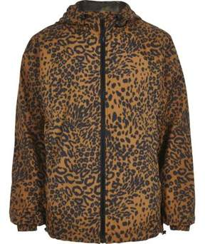 River Island Mens Brown leopard print hooded jacket