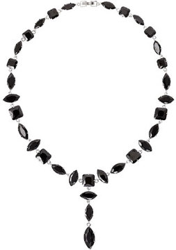 Fallon Jagged Edge Marquis Crystal Y-Drop Necklace, Jet