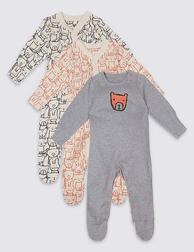 Marks and Spencer 3 Pack Pure Cotton Teddy & Friends Sleepsuits
