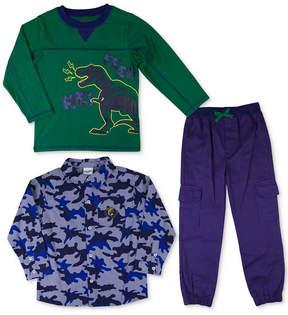 Nannette 3-Pc. Printed Shirt, T-Shirt & Cargo Pants Set, Little Boys (4-7)