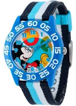 Disney Mickey Mouse Boys' Plastic Case Watch, Printed Stretch Nylon Strap