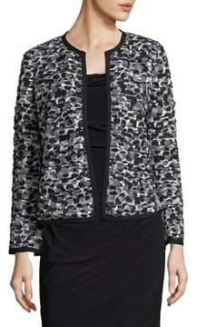 Isaac Mizrahi IMNYC Ruched Short Jacket with Back Ruffle and Contrast Piping