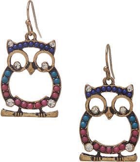 Carole Teal & Fuchsia Owl Drop Earrings