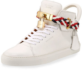 Buscemi Men's 100mm Leather Mid-Top Sneaker with Woven Strap, White