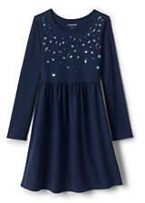 Lands' End Girls Gathered Waist Graphic Jersey Dress-Spiced Berry Stripe