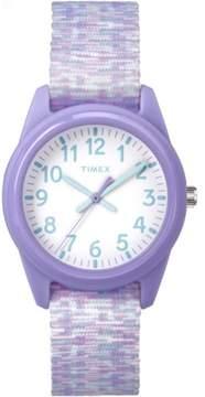 Timex Girls' Time Machines Analog Resin Watch, Purple/White Sport Elastic Fabric Strap