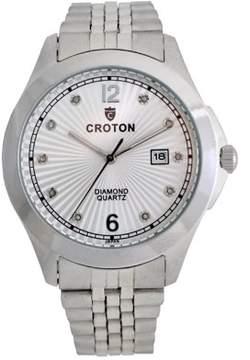 Croton Men's Silvertone Diamond Dial Watch