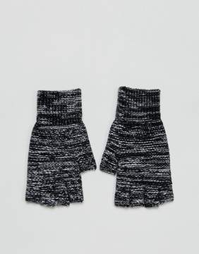 Asos Fingerless Gloves In Black Twist