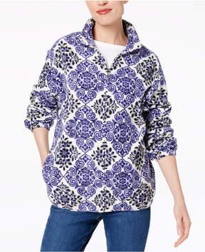 Alfred Dunner Printed Fleece Zip-Up Jacket