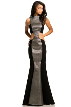 Johnathan Kayne 8059 High Neck Two-Toned Mermaid Gown