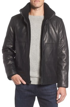 Andrew Marc Men's Trail Master Leather Jacket With Faux Shearling Lining