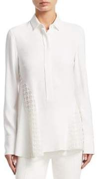 Akris Punto Dot Lace Inset Tunic Blouse