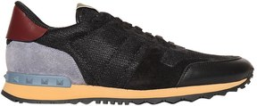Valentino Rockstud Mesh, Suede & Leather Sneakers